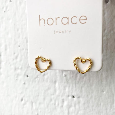 HERZO HEART EARRINGS - GOLD