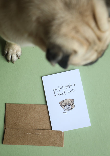 Greeting Card - Pugfect Mask