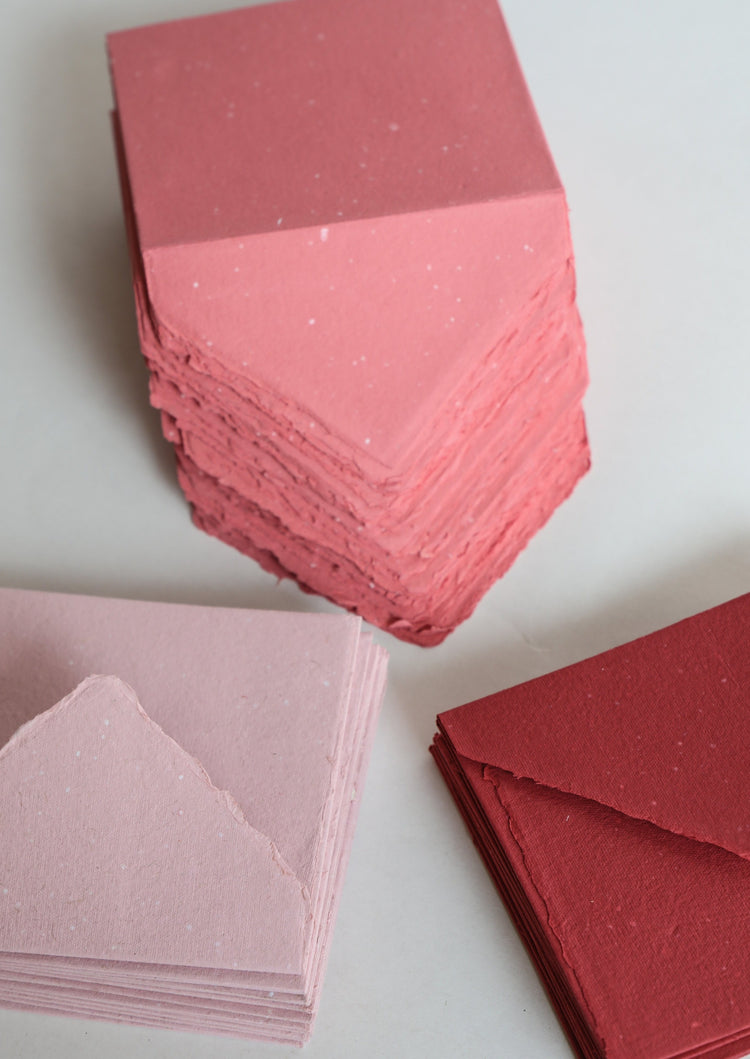 Deckled Edge Handmade Envelopes - assorted // rose | cherry | coral