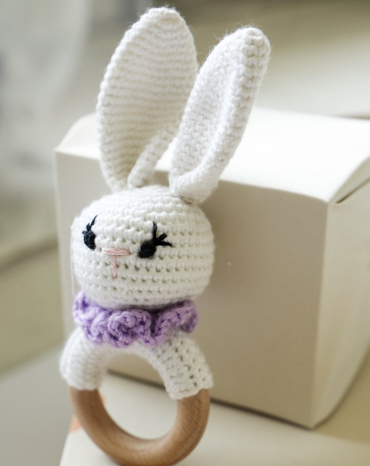 Crochet Bunny Rattle with Teether