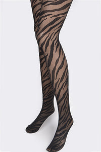 ZEBRA STRIPPED LACE STOCKINGS