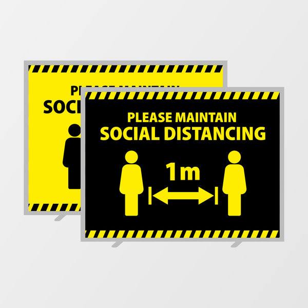 'Social distancing' reusable tension graphic system - DOUBLE SIDED
