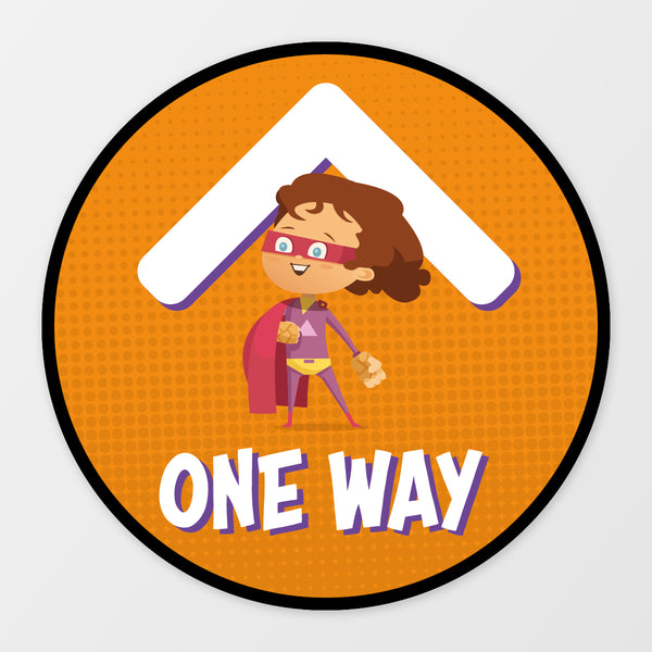 'One Way' circular floor sticker - Superheroes