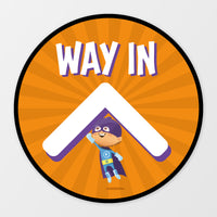 'Way In' circular floor sticker - Superheroes
