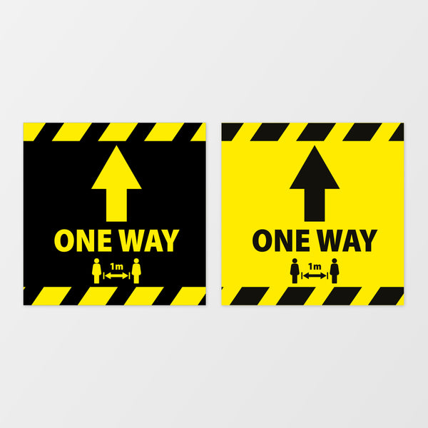 'One way' square floor sticker
