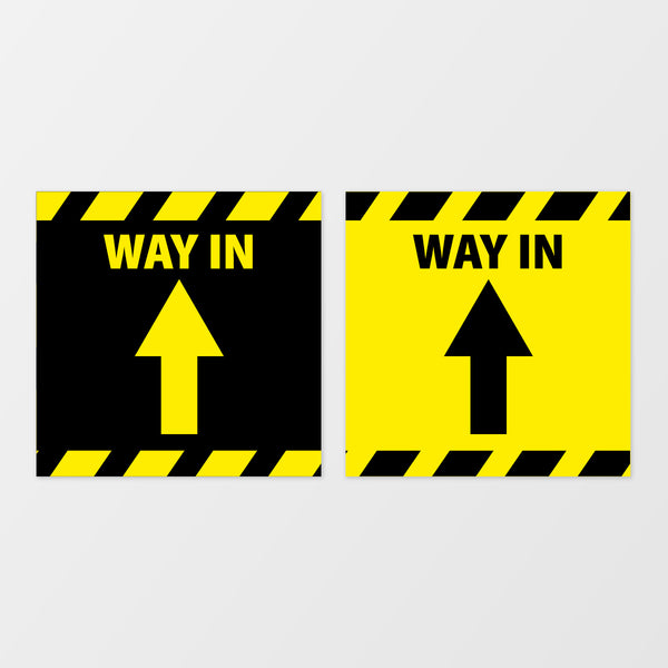 'Way in' square floor sticker