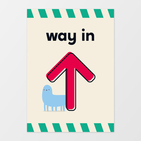 'Way in' wall sign - Monster