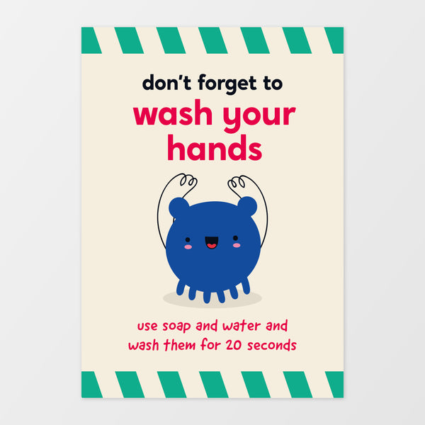 'Wash your hands' wall sign - Monster