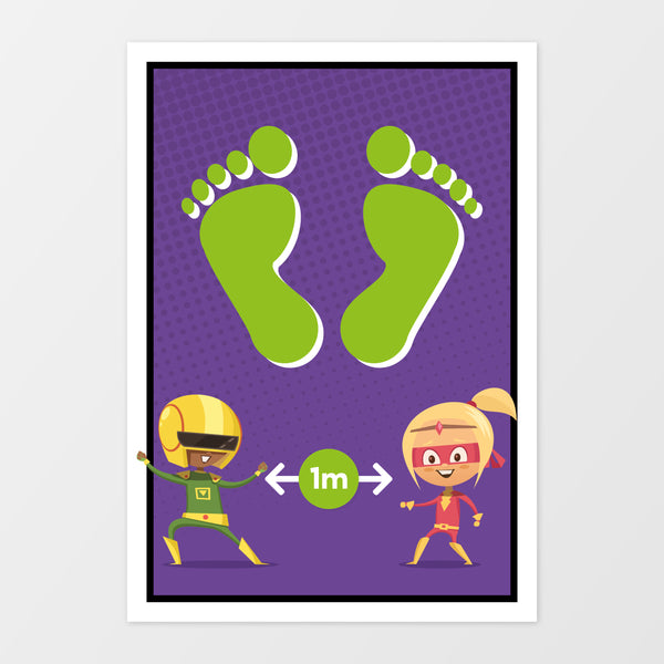 Footprints wall sign - Superheroes