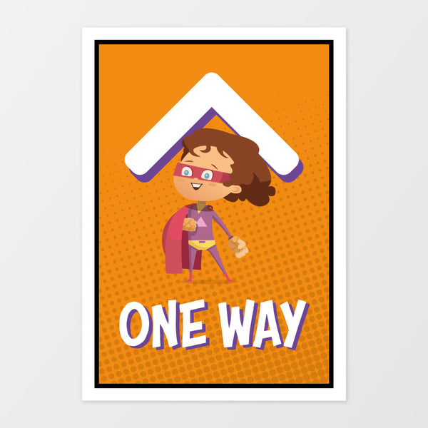 'One way' wall sign - Superheroes