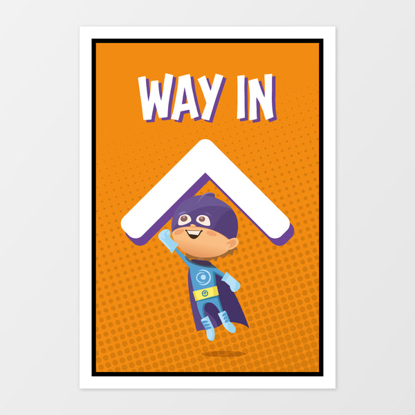 'Way in' wall sign - Superheroes