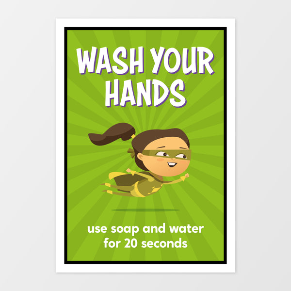 'Wash your hands' wall sign - Superheroes