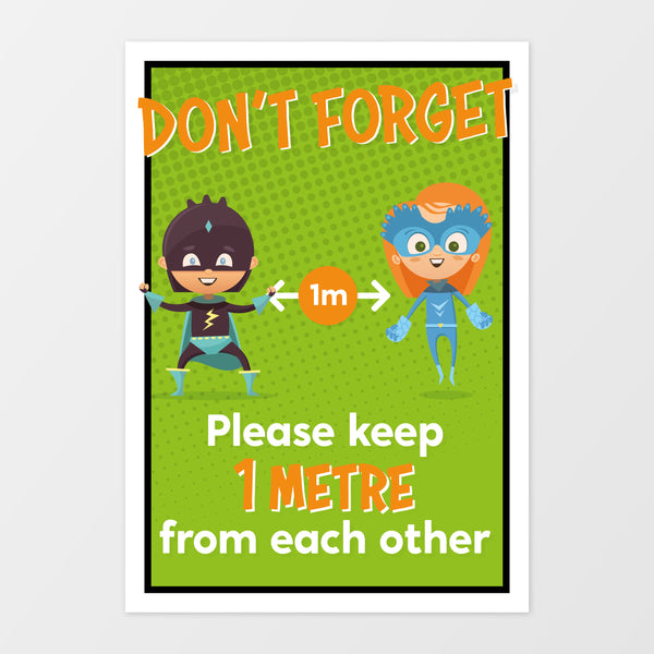 '1 metre' wall sign - Superheroes