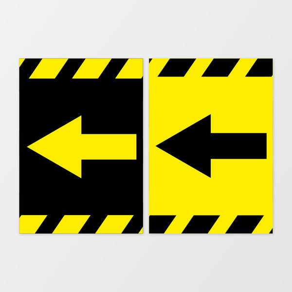 Sideways arrow wall signage
