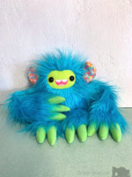Archimedes The Slothling - Bright Blue Green And Fluoro Plush Sloth Monster Plush