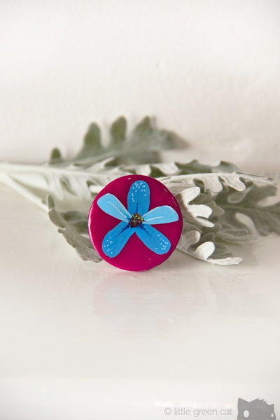 Blue Wildflower Handpainted Polymer Clay Pin Accessories
