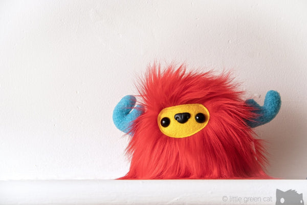 Buffalump Blam - Red Yellow And Blue Fluffy Plush Monster Plush