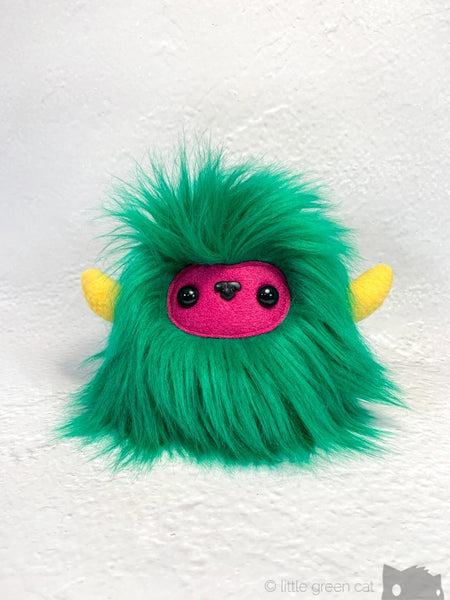 Buffalump Filo - Green Pink And Yellow Fluffy Plush Monster Plush