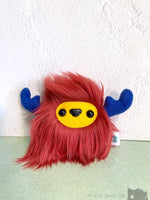 Buffalump Mash - Burgundy Red Yellow And Blue Fluffy Plush Monster Plush
