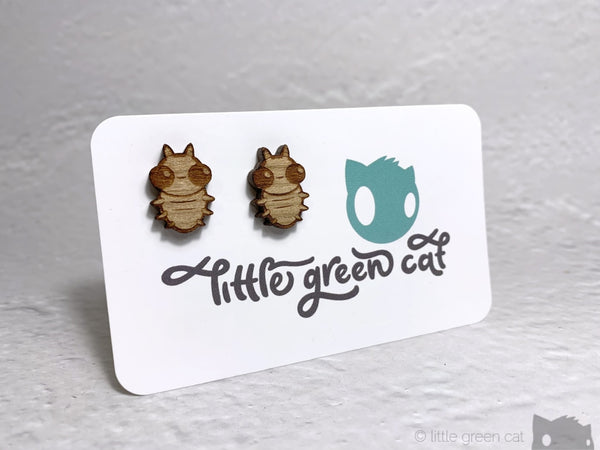 Happy Beetles Cherry Wood Stud Earrings Accessories