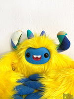 ++Lemoncake The Slothling - Yellow Green And Blue Plush Sloth Monster Plush