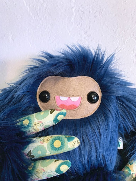 Rose The Slothling - Navy Blue And Floral Plush Sloth Monster Plush
