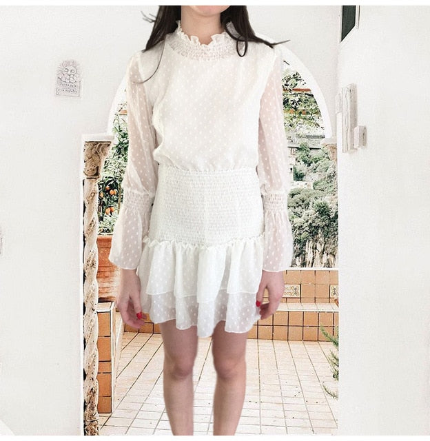 Lossky Women Dress Long Sleeve Sexy See Through Mini Princess Dress Autumn Winter White Cascading Ruffled Lady Pullover Clothing