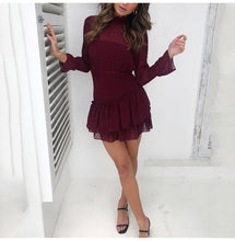 Load image into Gallery viewer, Lossky Women Dress Long Sleeve Sexy See Through Mini Princess Dress Autumn Winter White Cascading Ruffled Lady Pullover Clothing
