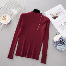 Load image into Gallery viewer, New Fashion Button Turtleneck Sweater Women Spring Autumn Solid Knitted Pullover Women Slim Soft Jumper Sweater Female Knit Tops