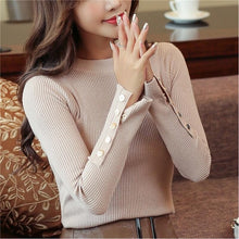 Load image into Gallery viewer, Fashion 2019 New Spring Autumn Women Sweater Knitted Long Sleeve O-Neck Sexy Slim Office Lady Button Casual Sweaters Tops