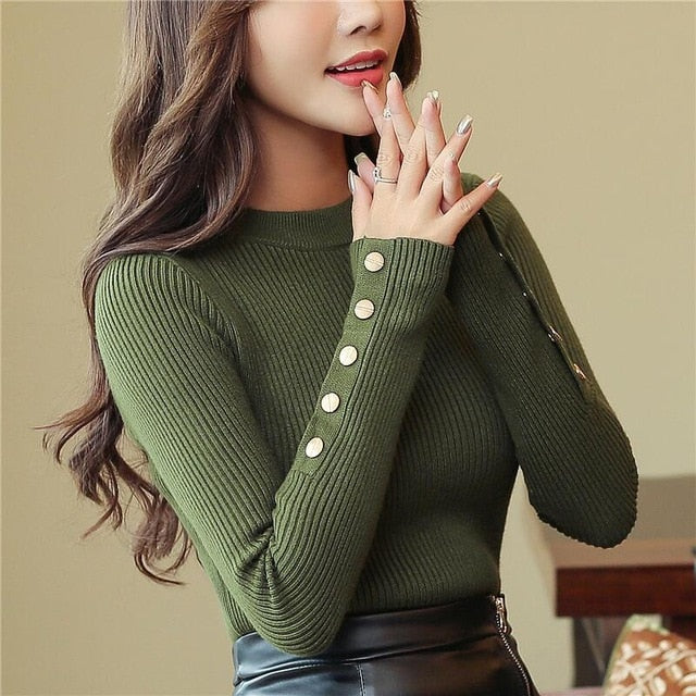 Fashion 2019 New Spring Autumn Women Sweater Knitted Long Sleeve O-Neck Sexy Slim Office Lady Button Casual Sweaters Tops