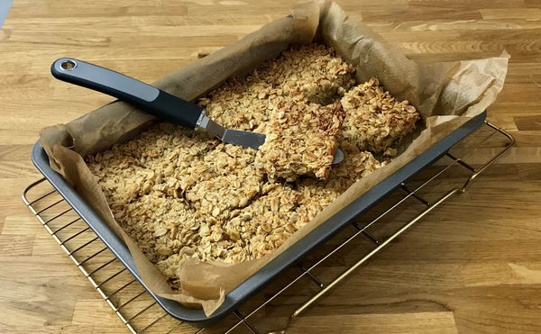 Honey flapjack cooked in oven