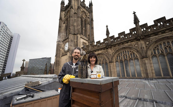 Bee hives and honey at Manchester Cathedral