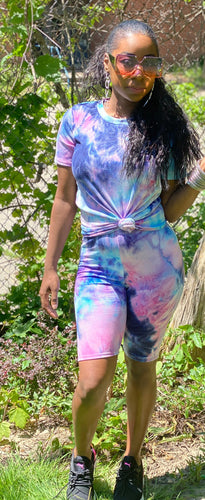 Purple Tie Dye Short Set