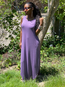 Lilac Maxi Dress With Pockets