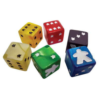 Role Playing Games, Meeple D6 Dice Set - Green