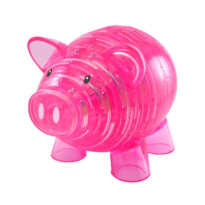 3D Jigsaw Puzzles, PINK PIGGY BANK CRYSTAL PUZZLE