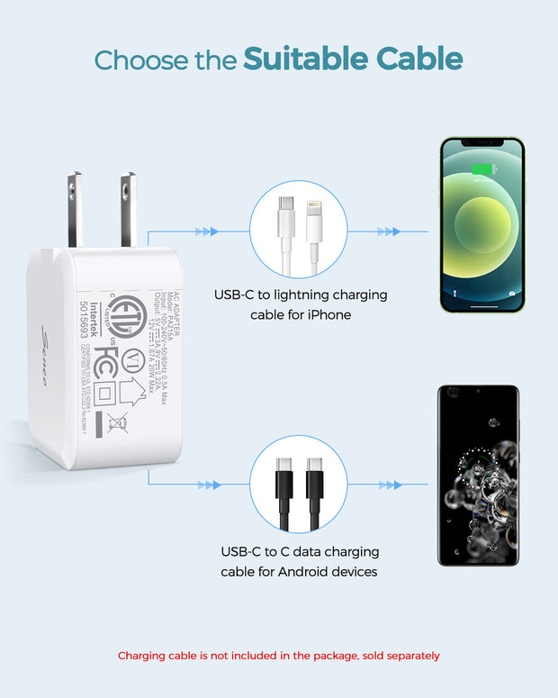 20W USB C Charger - White