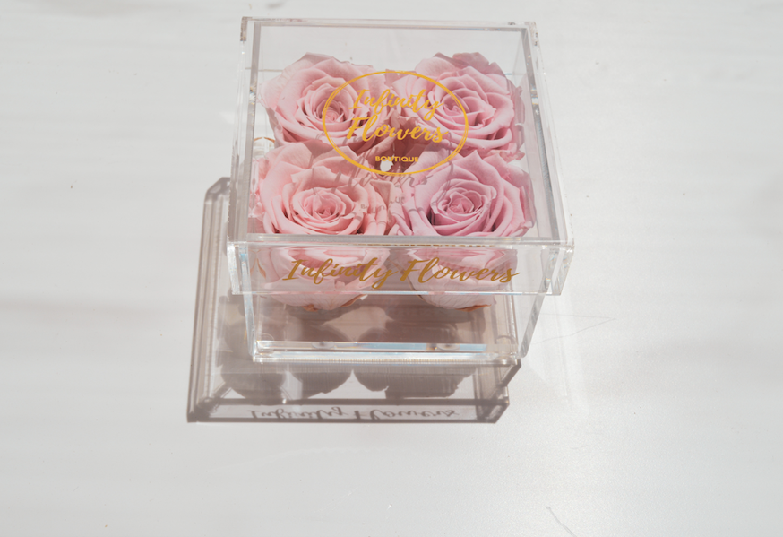 infinity roses, eternity rose, preserved roses, infinity box, luxury box, plexi glass, acrylic box, preserved flowers Cyprus, pink roses, pink eternity roses