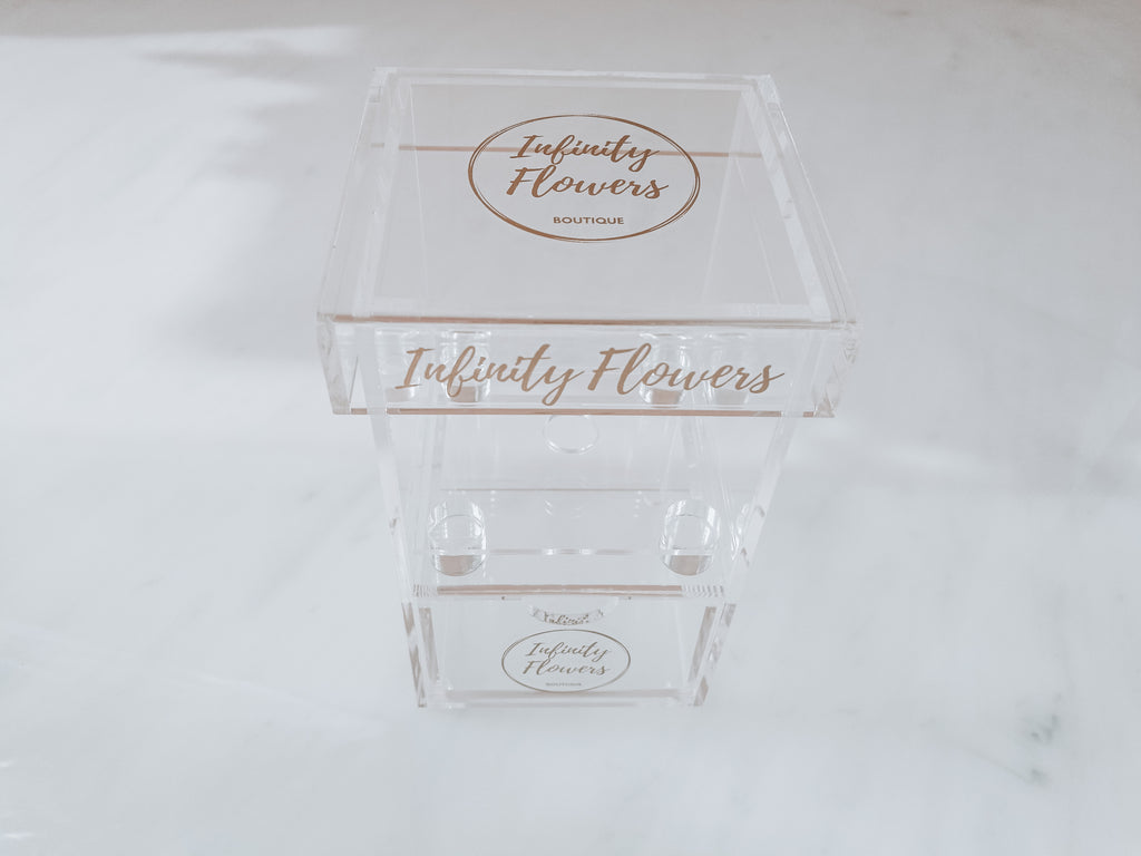 inifnity eternity preserved rose in a single plexi glass box