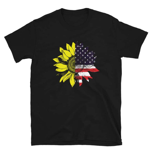 Sunflower American Flag Patriotic 4th Of July Short-Sleeve