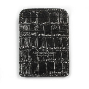 Congo Crocodile Black Leather RFID Wallet - Money Clamp - www.MoneyClamp.com