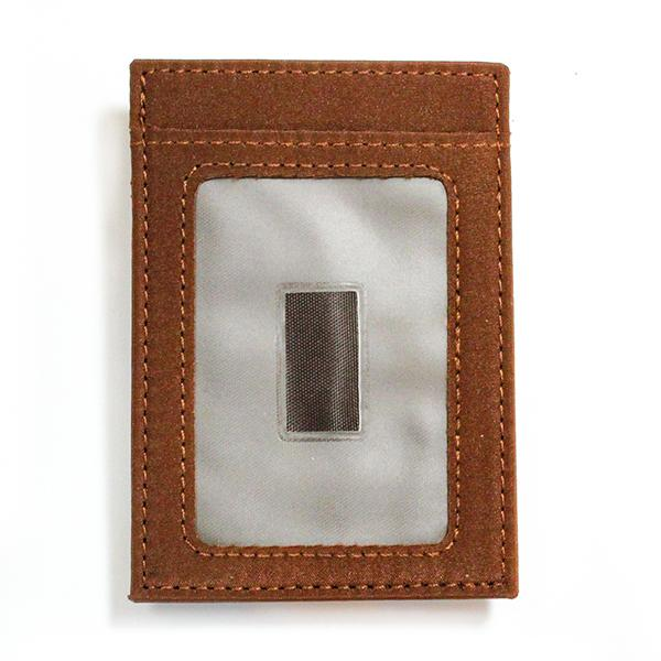 Brown Microfiber Wallet with ID Window - Money Clamp - www.MoneyClamp.com