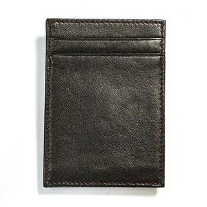 Cabretta Brown Leather Wallet with Extra Capacity - Money Clamp - www.MoneyClamp.com