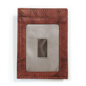 Cabrino Brown Leather Wallet with ID Window - Money Clamp - www.MoneyClamp.com