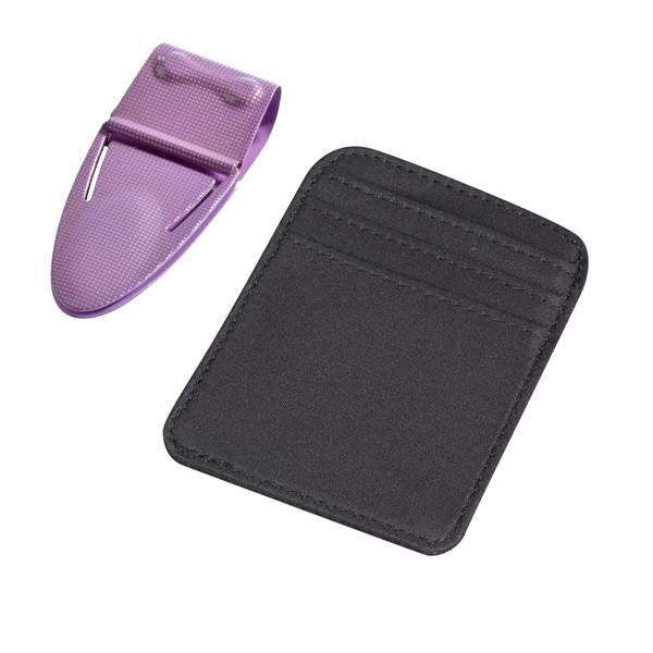 Mini Geneva Purple Mesh with Black Microfiber Wallet - Money Clamp - www.MoneyClamp.com