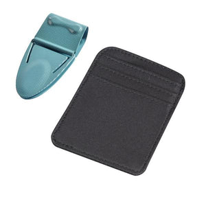 Mini Geneva Teal Mesh with Black Microfiber Wallet - Money Clamp - www.MoneyClamp.com