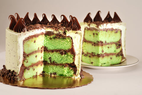 Poppie's Dough Mint Chocolate Chip Cake for St. Patrick's Day