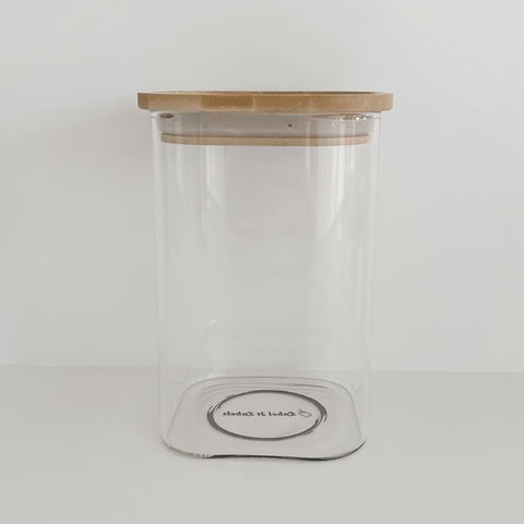 Square Glass/Bamboo Pantry Container - 950ml