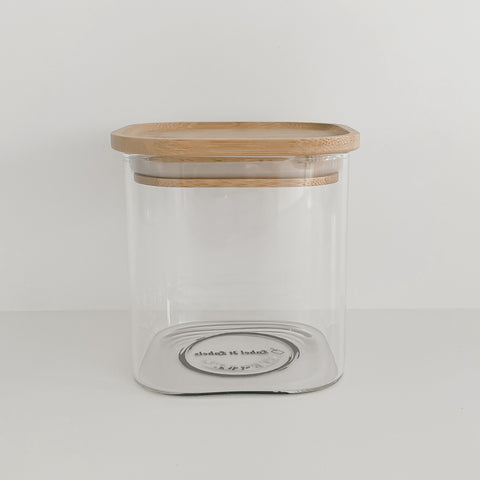 Square Glass/Bamboo Pantry Container - 550ml